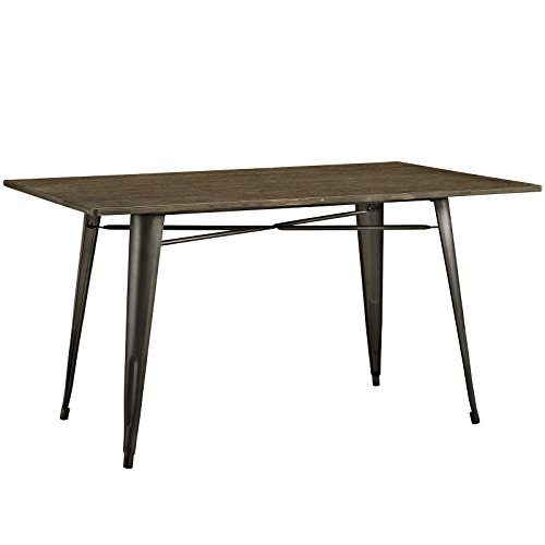 Modway Alacrity Industrial Modern Stainless Steel Metal Dining Table With Wood Top, 59