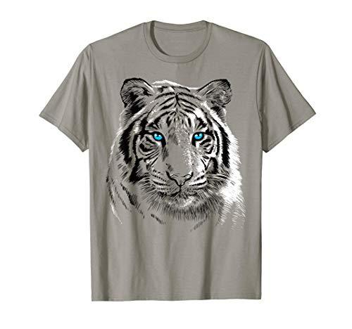 - Sketch Tiger T-shirt Blue eyes cute feline shirt