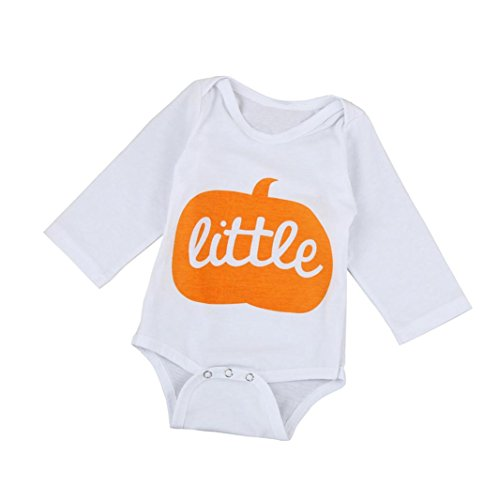 Halloween Gift, WuyiMC Newborn Kids Baby Boys Girls Clothes Long Sleeve Romper Jumpsuit Outfit (12-18M/Tag 90, White) (Corporate Baby Gifts)