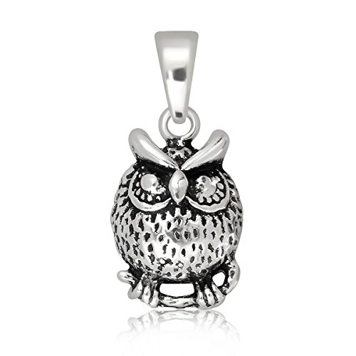 - WithLoveSilver 925 Sterling Silver Tiny Owl Symbol of Happiness Pendant