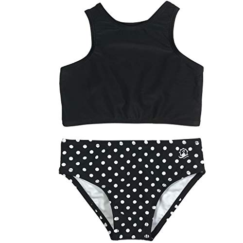 SwimZip Girls Halter Top and Bikini Bottom 2 Piece Set UPF 50+ Black Polka Dot 12-14