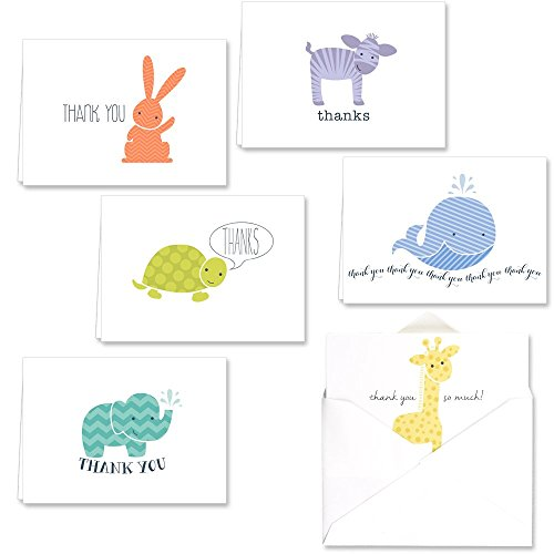 Canopy Street Adorable Animal Thank You Note Card Assortment (Baby Shower Thank Yous)