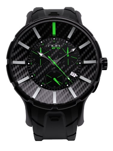 NOA Unisex Swiss Quartz Watch - Premium Analog Display With Real Carbon Fiber and Black Watch Band - Silver and Green Accents - Water Resistant Stainless Steel Fashion - 16.75 GC6 002 by Noa Watch