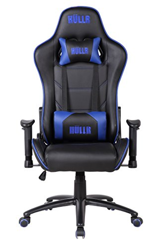 HULLR Gaming Racing Computer Office Chair, Executive High Back GT Ergonomic Reclining Design with Detachable Lumbar Backrest & Headrest (PC PS4 XBOX Laptop) (Black/Blue) by HÜLLR