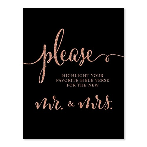 Andaz Press Wedding Party Signs, Faux Rose Gold Glitter on Black, 8.5x11-inch, Please Highlight Your Favorite Bible Verse for the New Mr. & Mrs., 1-Pack