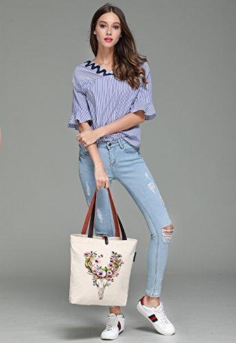 So'each Women's Deer Flower Graphic Canvas Handbag Tote Shoulder Bag