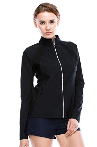 Kurve Sport Women's Lightweight Active Performance Track Jacket (Small, Black) (Womens Black Jackets Bombshell)