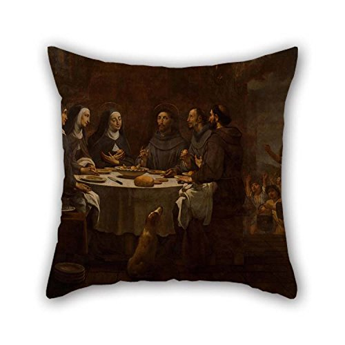 Oil Painting Antoni Viladomat - Saint Francis And Saint Clare At Supper In The Convent Of Saint Damian Pillow Cases 18 X 18 Inches / 45 By 45 Cm Best Choice For Family Teens Girls Indoor Club Fami