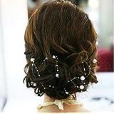 Miya - Decorazione per capelli 4 pz, 1,3 m, bianco, perline, ghirlanda da sposa, matrimonio