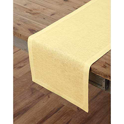 Solino Home 100% Pure Linen Table Runner – 14 x 72 Inch Athena, Handcrafted from European Flax, Natural Fabric Runner – Yellow -