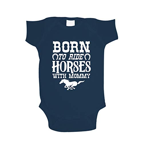 Born to Ride Horses with Mommy Baby One Piece 6 mo Navy Blue