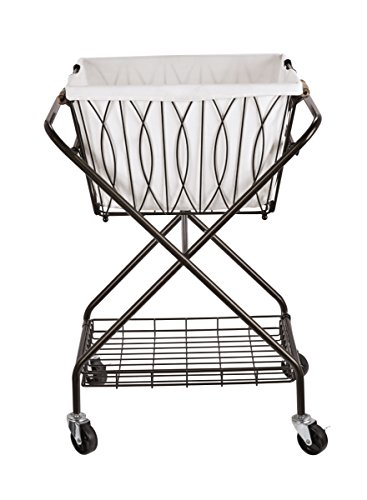 Artesa Verona Collapsible Metal Laundry Cart with Removable Basket & Canvas Bag (Hampers Metal)