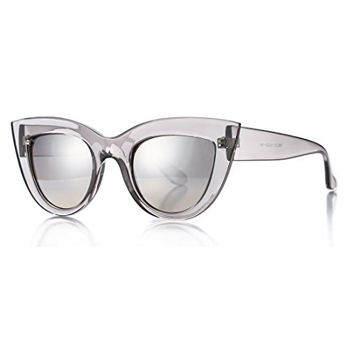 Retro Cateye Sunglasses for Women Fashion Mirror UV400 Protection Cat Eye Sun Glasses (Grey Frame/Silver Mirror Lens) (Grey Vintage Lens)