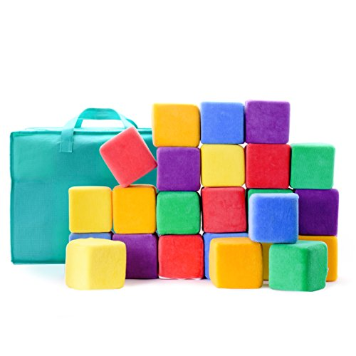 Milliard Soft Foam Blocks, Jumbo Size, for Stacking Sorting and Building, 24 4-inch Cubes with Removable Covers and Carry Bag