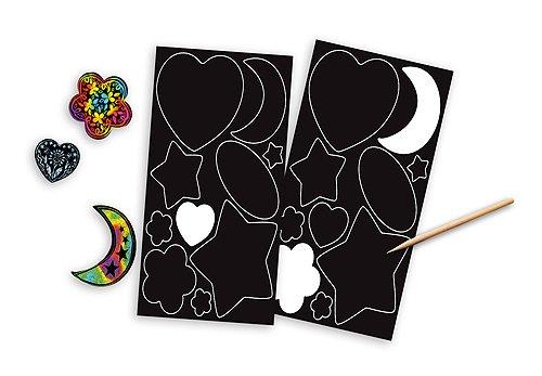 58247 Silver /& Rainbow FREE Melissa /& Doug Scratch Art Mini-Pad Bundle Scratch Art Stickers Pack