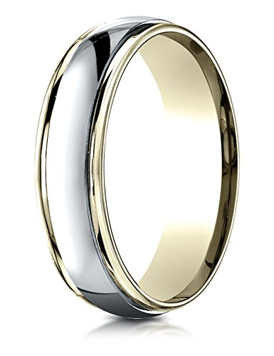 6mm Comfort Fit Wedding Band/Ring 14 kt Two Tone Gold Size 11 ()