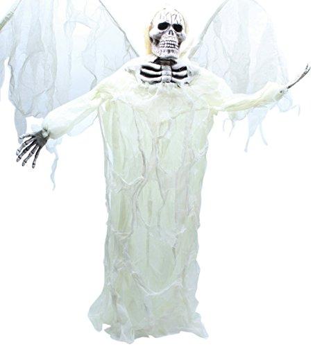 Angel Of Death Hanging Prop (3 Foot Hanging Angel of Death Ivory Wings Skeleton Scary Halloween)