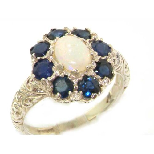 925 Sterling Silver Natural Opal and Sapphire Womens Cluster Ring - Sizes 4 to 12 Available by LetsBuySilver