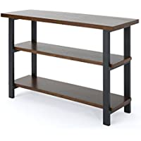 Ferdinand Industrial Dark Brown Finished Faux Wood Book Case with Gun Metal Finished Iron Frame