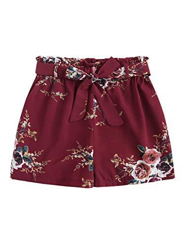 SheIn Women's Tie Waist Inseam Pocket Side Plaid Shorts Large Floral#2 2 Side Inseam Pockets