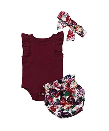 3PCS Clothes Set Newborn Toddler Baby Girl Romper Bodysuit Jumpsuit Floral Halen Pants Outfit Clothes (0-6 Months, Purple-Sleeveless Short)