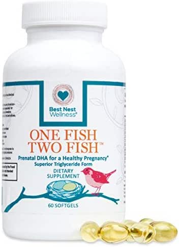 One Fish, Two Fish Prenatal DHA, Ultra Pure Triglyceride Omega 3 Fish Oil Supplement, Supports Baby's Brain and Eye Development During Pregnancy & Lactation, Easy to Swallow, Lemon Flavored, 60 Count