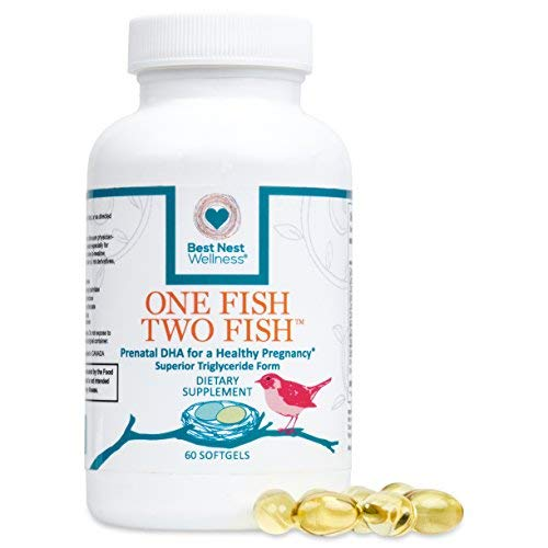 One Fish Two Fish Prenatal DHA, Ultra Pure Triglyceride Omega 3 Fish Oil Supplement | Support Baby's Brain & Eye Development During Pregnancy & Lactation, Easy to Swallow, Lemon Flavored, 60 Count