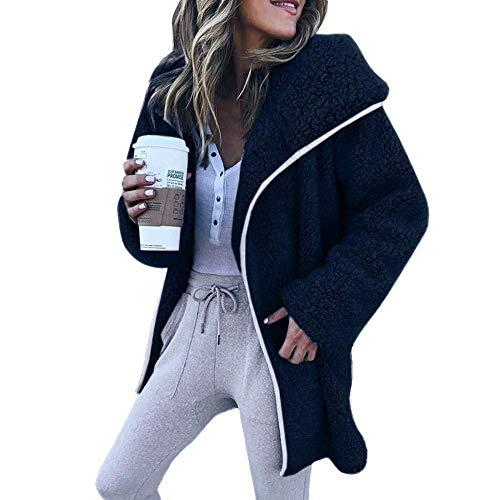 MODEOK Women Fleece Lapel Open Front Draped Sherpa Hoodies Cardigan Sweater Long Sleeve Jacket Coat(Navy-Small) - Hooded Fleece Jacket Ansi