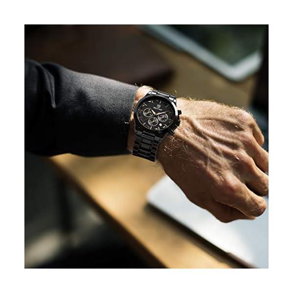 BENYAR Montre Homme Montres Etanche Chronographe Lumineuses Classique Montres Bracelet en Acier Inoxydable Grand Cadran…