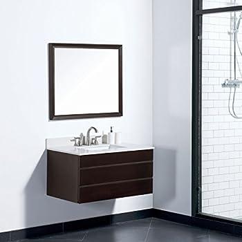 MAYKKE Dani 36 Inch Bathroom Vanity Set In Birch Wood Chocolate Finish,  Single Wall Mounted