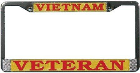 Vietnam Veteran License Plate Frame (Chrome Metal) Veteran Metal