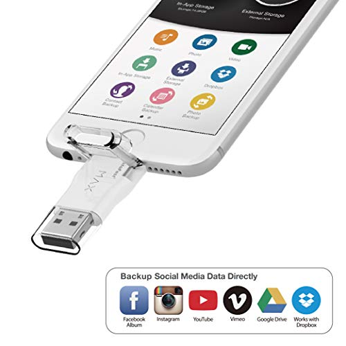 [Photofast] Gigastone 32GB iPhone Flash Drive, Lightning and PC USB 3.0, Super App for iOS iPad, Backup Facebook Instagram Dropbox Google Drive Contacts 4K Video Music, Full iPhone Backup