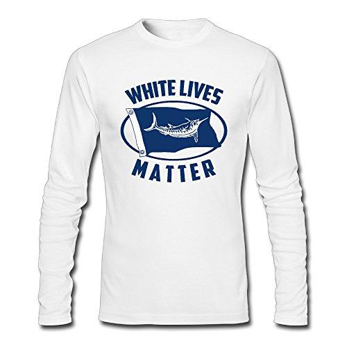 Funny White Marlin Lives Matter Men Long Sleeve O-neck T-Shirt White Small (White Marlin)