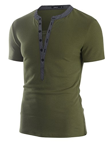 (Doublju Mens Stylish Deep Henley Short Sleeve Top Tee, Khakiblack, Small)
