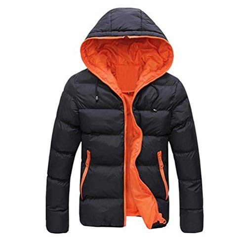 Streetwear Jacket Men Quilted Color Down Coat Warm Parka Jacket Hooded Men Jacket XL Jacket Orange Winter Size Down Jacket S40qnzHw