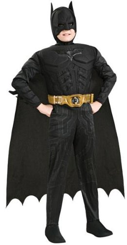 [Batman Dark Knight Rises Child's Deluxe Muscle Chest Batman Costume with Mask, Small] (Kid Costumes Halloween)