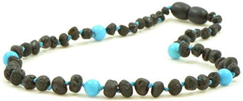 Unpolished Amber Teething Necklace with Turquoise Beads - 12.6 Inches - Baltic Amber Land - Raw Cherry Certified Baltic Amber Beads - Knotted - Screw Clasp