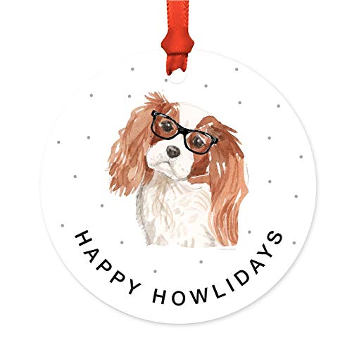 Spaniel Glass Ornament - Andaz Press Preppy Dog Art Round Metal Christmas Ornament, Cavalier King Charles Spaniel in Black Glasses, 1-Pack, Birthday Present Ideas for Him Her Dog Lover, Includes Ribbon and Gift Bag
