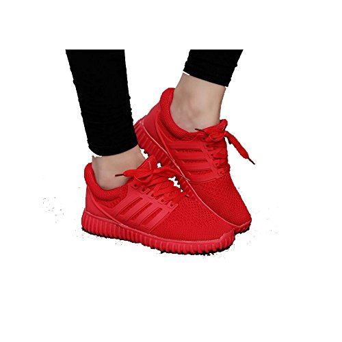 Qingyang Men Women Tennis Coconut Shoes Fashion Skater Breathable Sneakers Q1001 (EURO 37, Red)