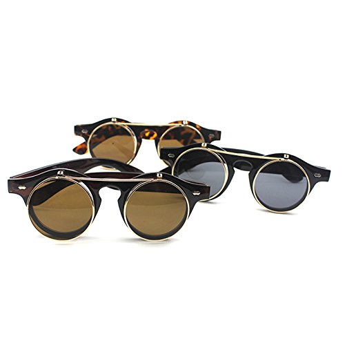 HuntGold 1X Steampunk Goth Goggles Retro Flip Up Round Double Layer Sunglasses Shades(Frame color: black)