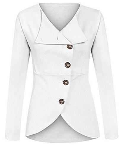 Soprabito Lunga Donna White Bottone Outwear Giacca Cardigan Cappotto Colore Moda Puro Manica Casual Kerlana 6R0w4qW