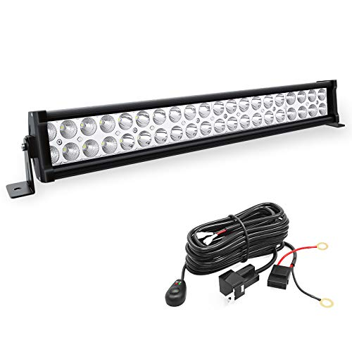YITAMOTOR 24 Inch Light Bar Offroad Spot Flood Combo Led Bar Waterproof Dual Row LED Work Light with Wiring Harness Compatible for Truck, 4X4, ATV, Boat, Jeep, LED Light Bar 120W White