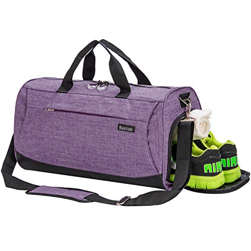 Kuston Sports Gym Bag with Shoes Compartment Travel Duffel Bag for Men and Women (Purple, M)