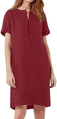 Vestidos Para,Algodón Retro Camisa De Lino Vestido De Mujer Otoño Vino Rojo O-Cuello Manga Corta Casual Vestidos Sueltos Verano Ropa De Mujer Color Puro Vestido Ropa De Mujer,Color De Foto,Xxxxxl: Amazon.es: Deportes