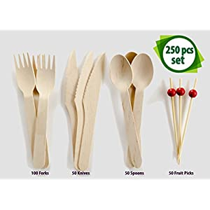 Wooden Cutlery Set-250pc Disposable Dinnerware Compostable Forks, Spoons, Knives and Fruit Picks Food Safe, Smooth And Sturdy Natural Silverware. Eco Friendly Elegant Party Utensils For Wedding Events