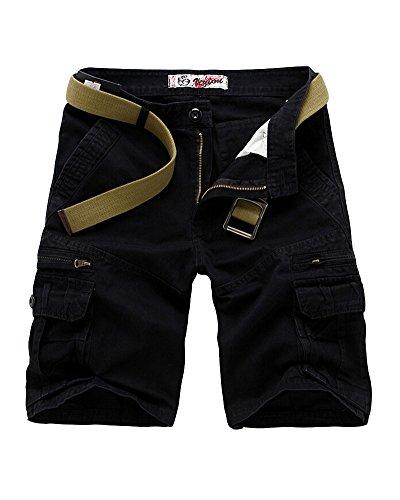Hombre Casual Pantalones Cortos Con Cremallera Jogging Pantalón Cargo negro