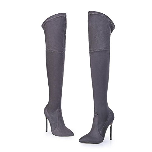 NVXIE Women Ladies Over Knee Thigh Elastic Boots Stiletto High Heel Shoes Black Brown Suede Pointed Autumn Winter GRAY-EUR35UK3 12oxsT1Kyf