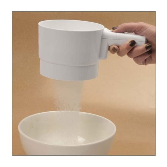 Battery Operated Flour Sifter 1 Provides uniform flour texture for baking 5-cup capacity Wide 5.5 in. diam. mouth reduces spills