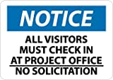 NMC N223RC OSHA Sign, Legend ''NOTICE - ALL VISITORS MUST CHECK IN AT PROJECT OFFICE NO SOLICITATION'', 20'' Length x 14'' Height, Rigid Plastic, Black/Blue on White