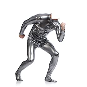 - 41jPjCVv 2BGL - Mens Front Crotch Zipper Shiny Metallic Spandex Unitard Costumes Gray